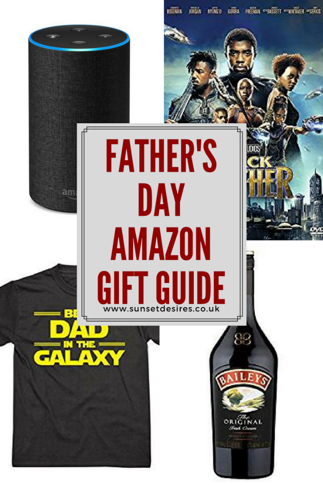 Banner saying Father's Day Amazon Gift Guide with a couple of random pictures of gifts on (Black Panther DVD, Amazon Echo, T-shirt & Baileys)