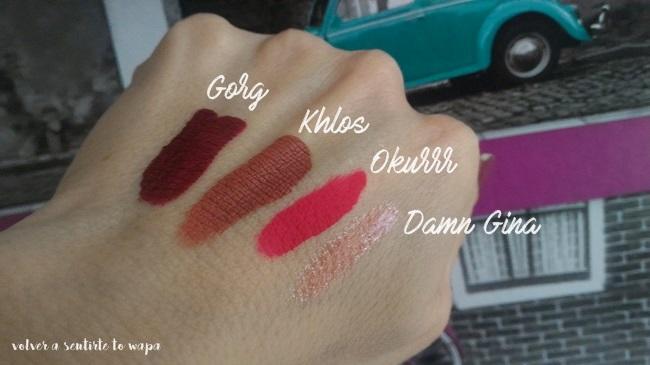 Set de labiales mate de Kylie Cosmetics de su colección Koko Collection - Swatches