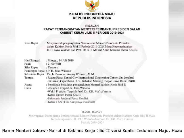 Daftar Nama Menteri Jokowi-Ma'ruf di Kabinet Kerja Jilid II versi Koalisi Indonesia Maju, Hoax