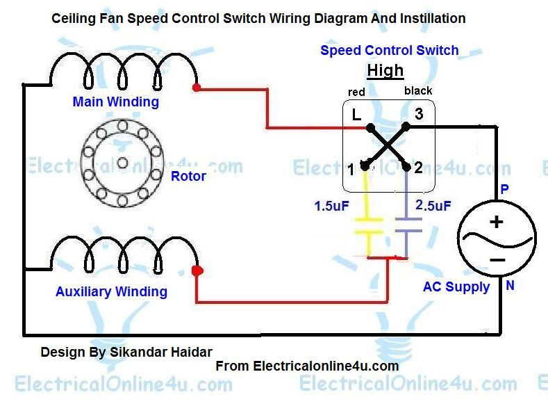 Ceiling Fan Speed Control Switch Wiring Diagram | Electrical Online 4u