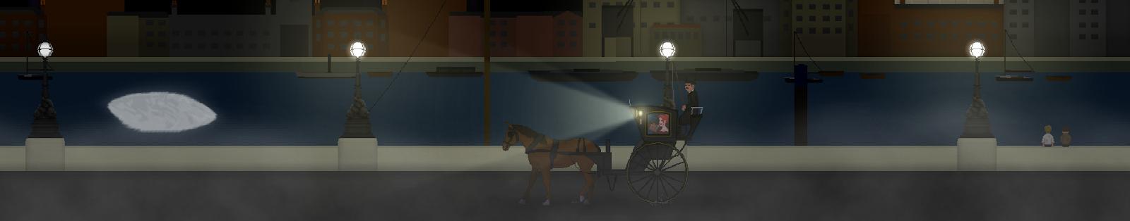Un carruaje con un farol y una mujer abordo cruza viaja en paralelo al Támesis en una brumosa noche.