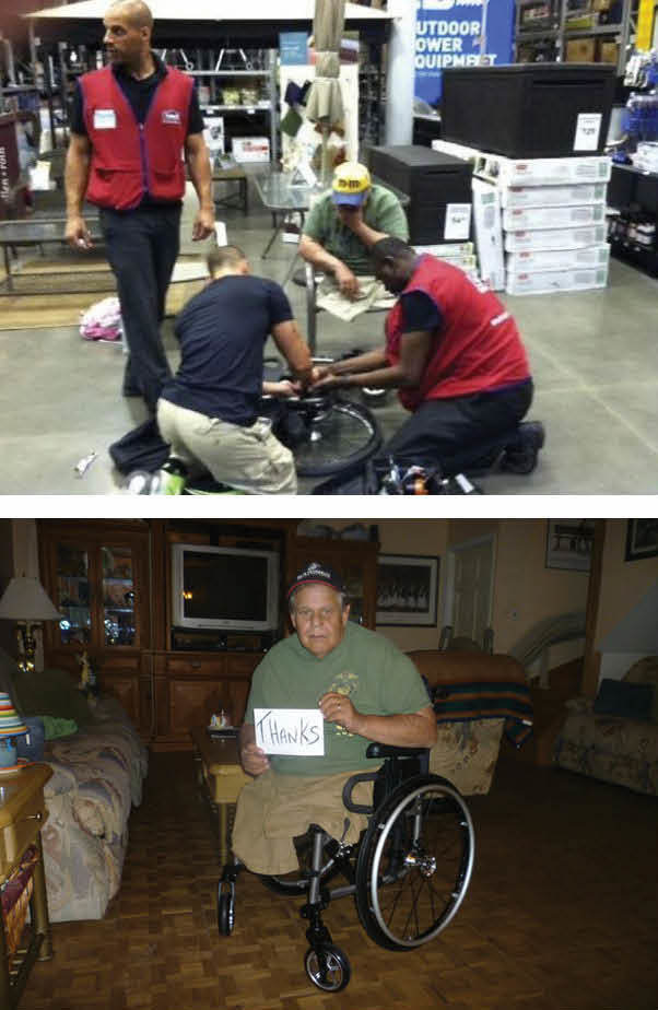This man's wheelchair broke at Lowe's, and the employees stopped everything to fix it for him.