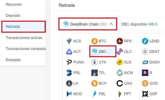 retirada deepbrain chain DBC moneda a wallet