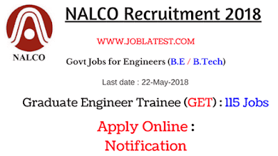 NALCO Recruitment 2018 | 115 GET Posts : Engineering Govt Jobs Apply Online : GATE