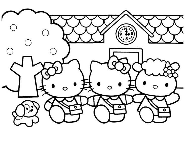 Tranh tô màu mèo hello kitty đi học