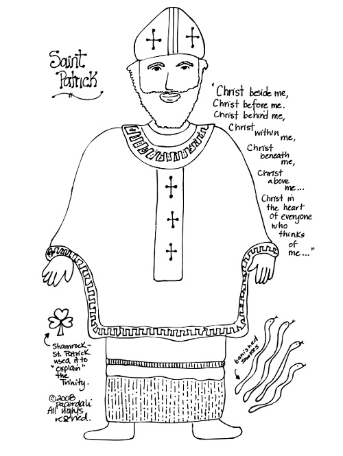 Paper Dali: Saint Patrick: Free Coloring Page and Unit Study