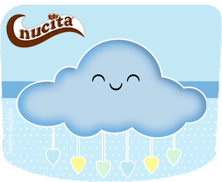 Etiqueta Nucita de Lluvia de Bendiciones en Amarillo y Celeste para imprimir gratis.