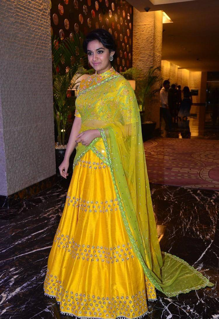 Actress Keerthy Suresh Stills In Yellow Dress At Movie Audio Launch