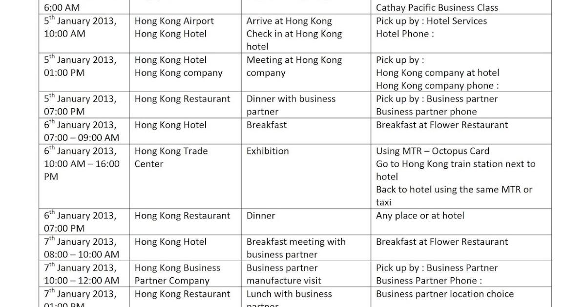 business itinerary