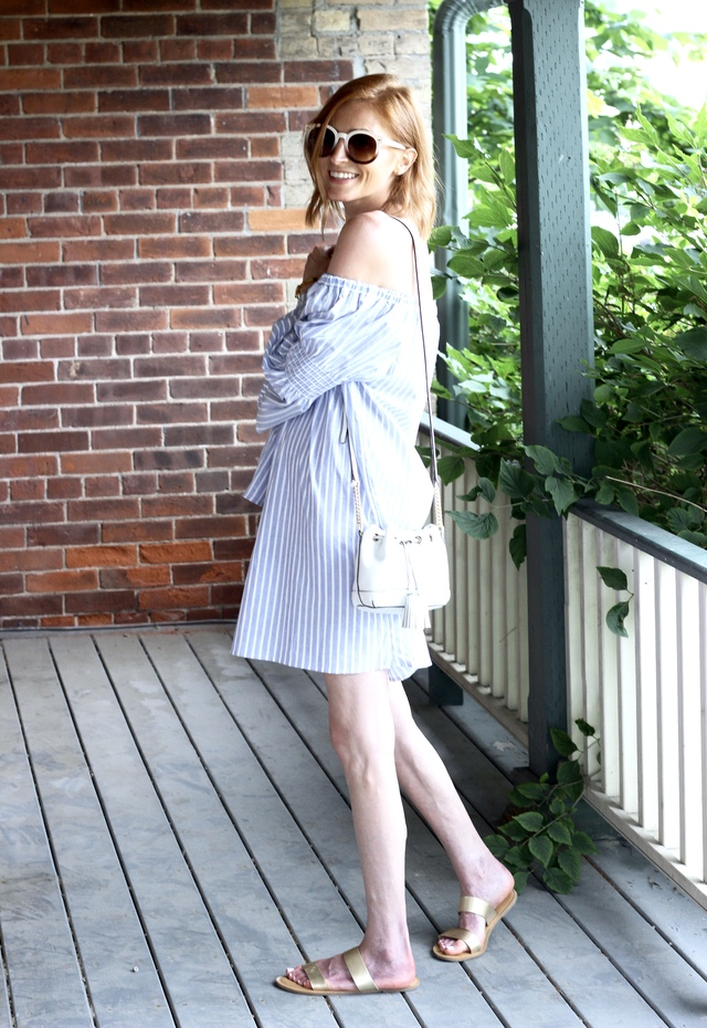 Blue off the shoulder dress, Rebecca Minkoff bucket bag, retro white sunglasses, Gold Old Navy sandals, hair cut, Drybar Mai Tai Spritzer Sea Salt Spray