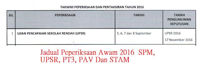 tarikh Peperiksaan Awam 2016  SPM, UPSR, PT3, PAV Dan STAM