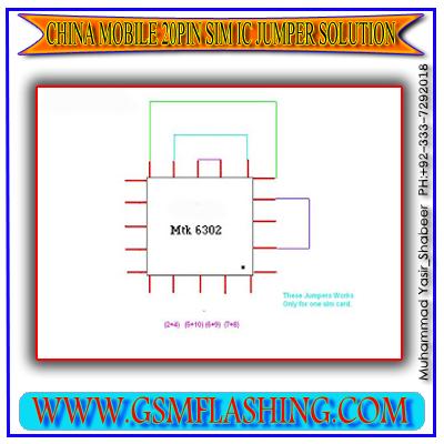 CHINA MOBILE SIM IC MTK 6302 20PIN 100% OK JUMPER SOLUTION