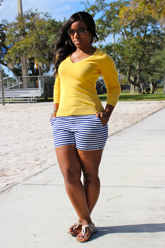 Weekend Wear Striped Shorts Curves And Confidence