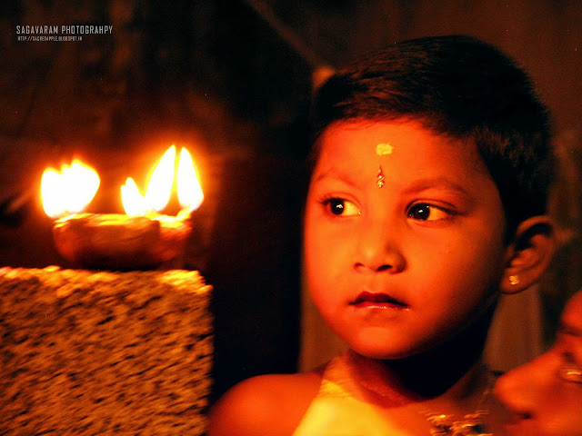 Diwali Lamp with Kid