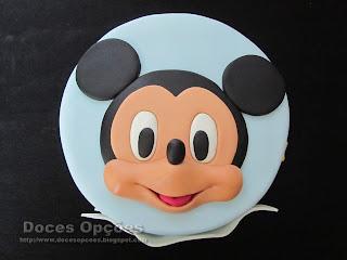 Bolo, bolachas e cupcakes do Mickey