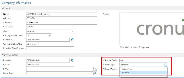 Company Information Setup Page for Intercompany Microsoft Dynamics NAV