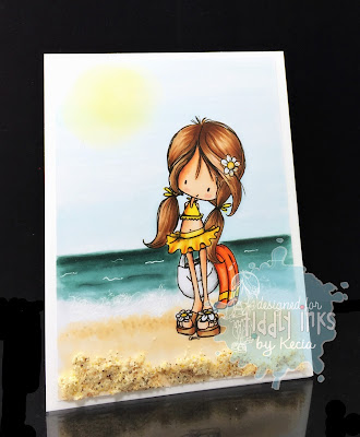 Tiddly Inks, Kecia Waters, Copic markers, Wryn, ocean, beach