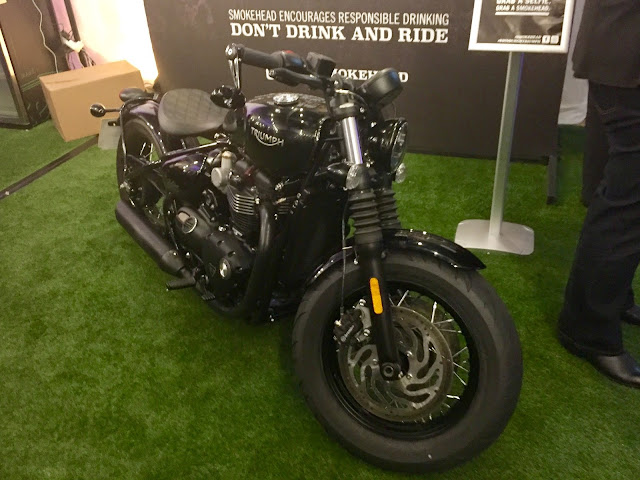 Smokehead Whisky motorbike at pop up bar in Edinburgh Cocktail Village