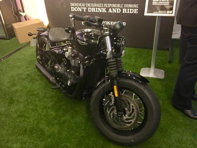 Smokehead Whisky motorbike at pop up bar in Edinburgh Cocktail Village