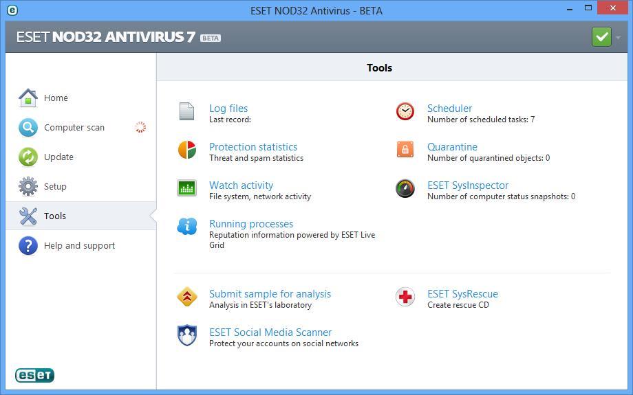 ESET NOD32 Antivirus 7 Screenshot