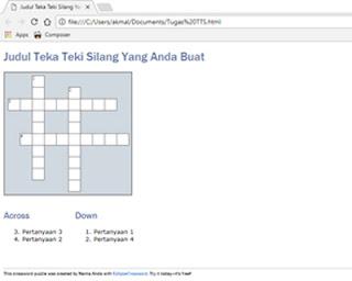 Cara Membuat Teka-Teki Silang Bahasa Indonesia Menggunakan Applikasi Eclipse Crossword