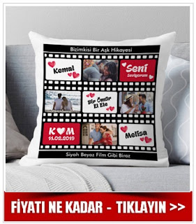 Film Şeridi Tasarımlı Romantik Yastık