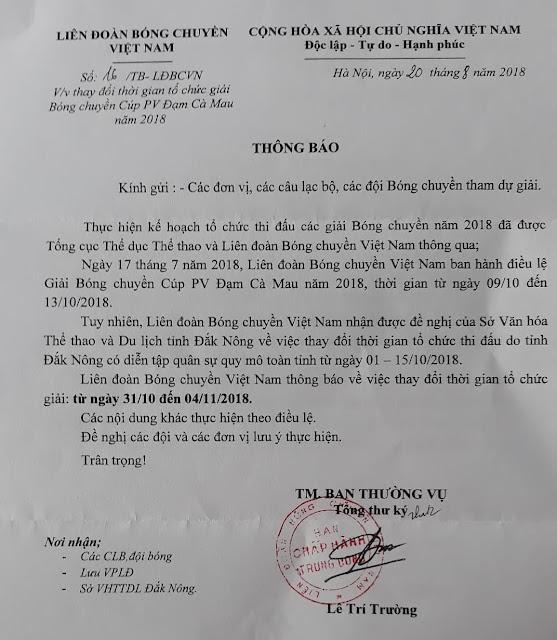 LĐBCVN thay đổi thời gian tổ chức Cúp Đạm Cà Mau 2018 tại Đak Nông