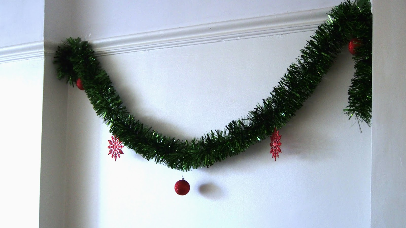 Tinsel on wall