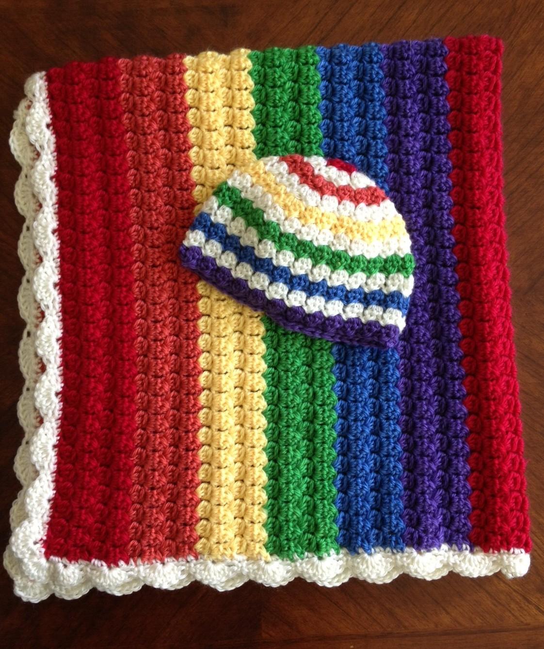 Illuminate Crochet  Colors! Rainbow Baby Blanket and Hat Set 43b25b72bff