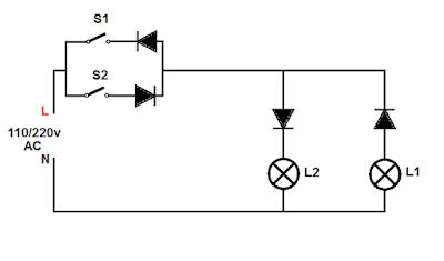 2 Lamps, 2 switchs, 1 wire