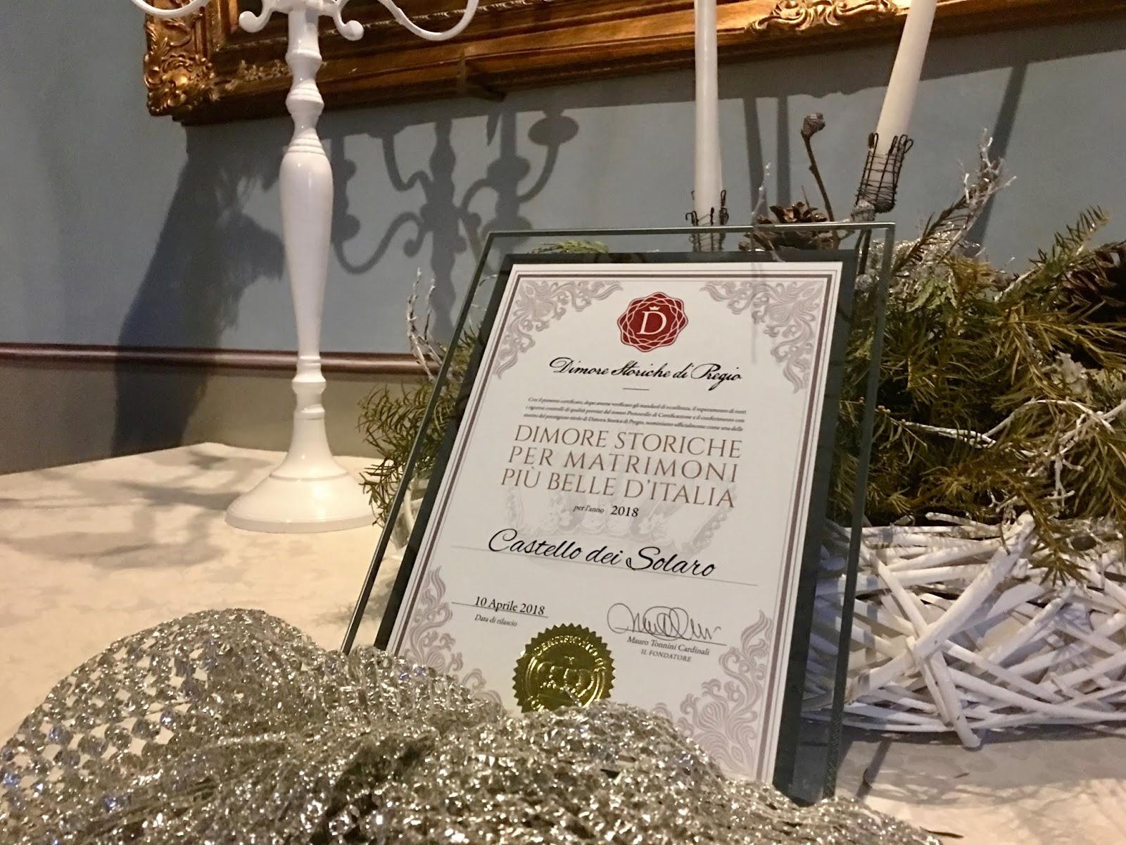 Castello dei Solaro riceve il Certificato di Merito di