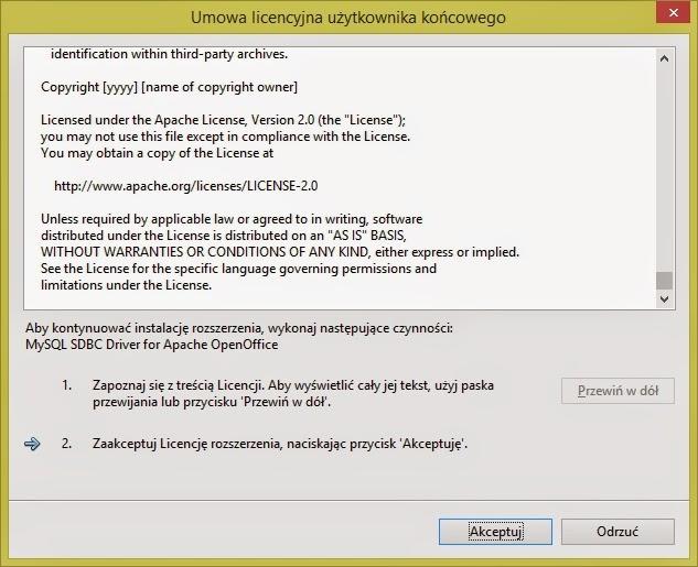 Instalacja rozszerzenia MySQL dla Apache Open Office