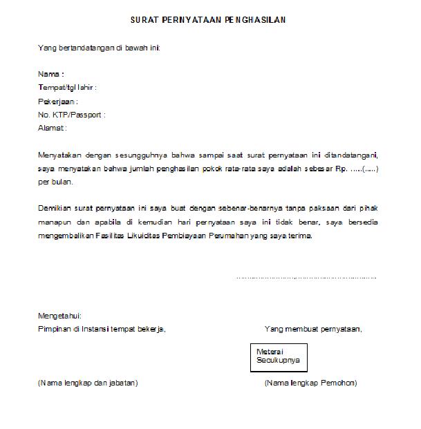 Contoh Surat Pernyataan Belum Memiliki Rumah Dari Pemohon ...