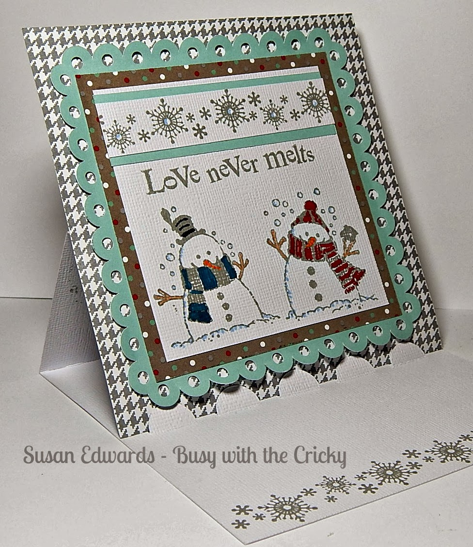 Busy With The Cricky: Love Never Melts Snow Holiday Card