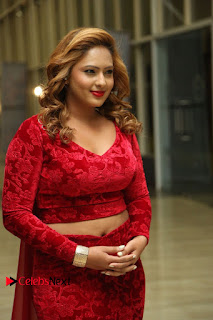 Actress Nikesha Patel Pictures in Red Dress at Araku Road Lo Audio Launch  0004.JPG