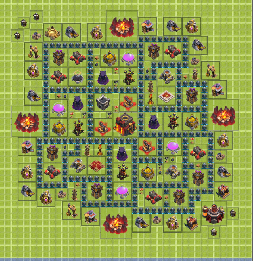 Clash of clans hybrid base design layout town hall level 10 web