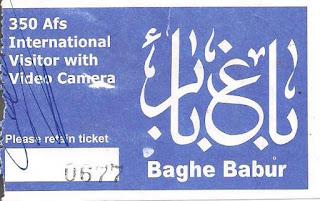 Ticket entrada Jardins de Babur, no Afeganistão