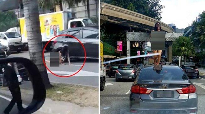 Perempuan Telanjang Menari di Atas Mobil saat Macet, Videonya Viral