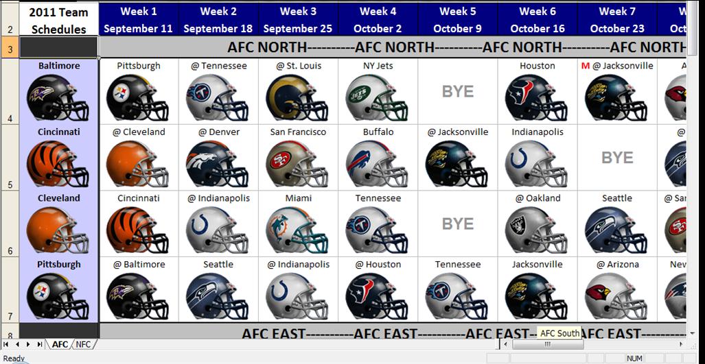 Excel Spreadsheets Help: 2011-2012 NFL Spreadsheet Schedule