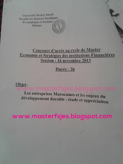 Master Economie et Stratégie des Institutions Financières