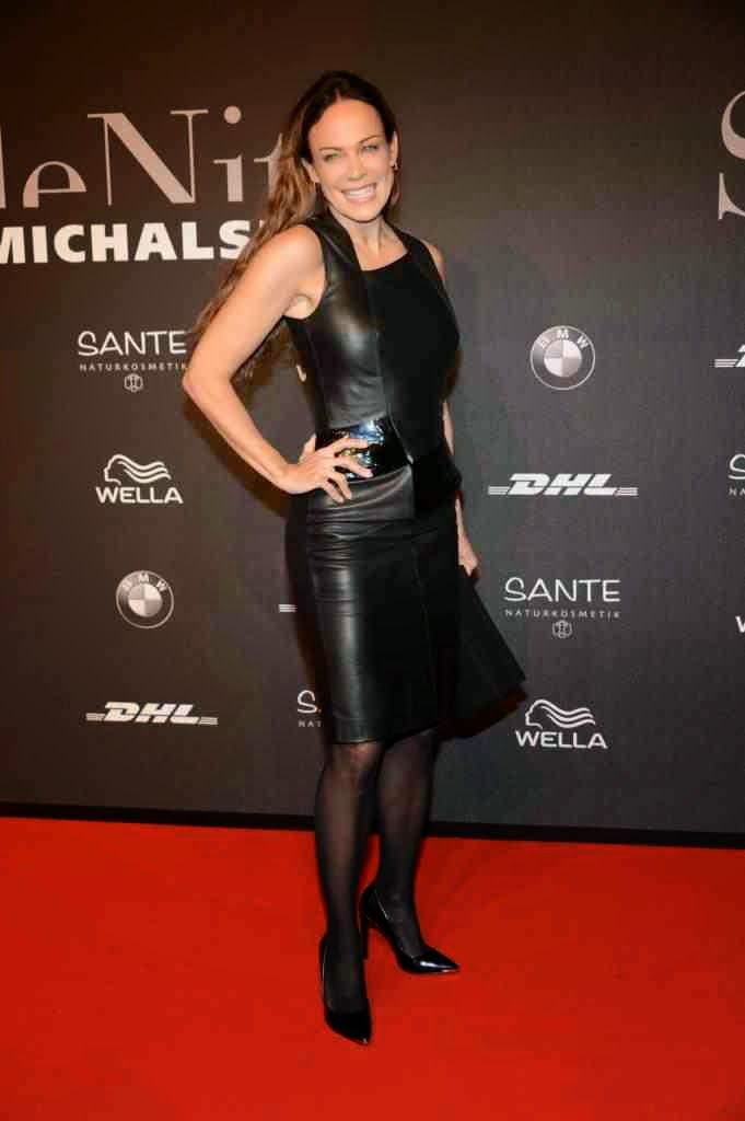 German women in leather sonja kirchberger in a leather pencil dress
