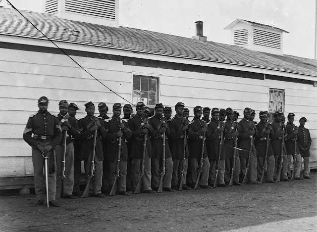 Company E, 4th U.S. Colored Infantry, Fort Lincoln, District of Columbia (circa 1863) Photo by William Morris Smith