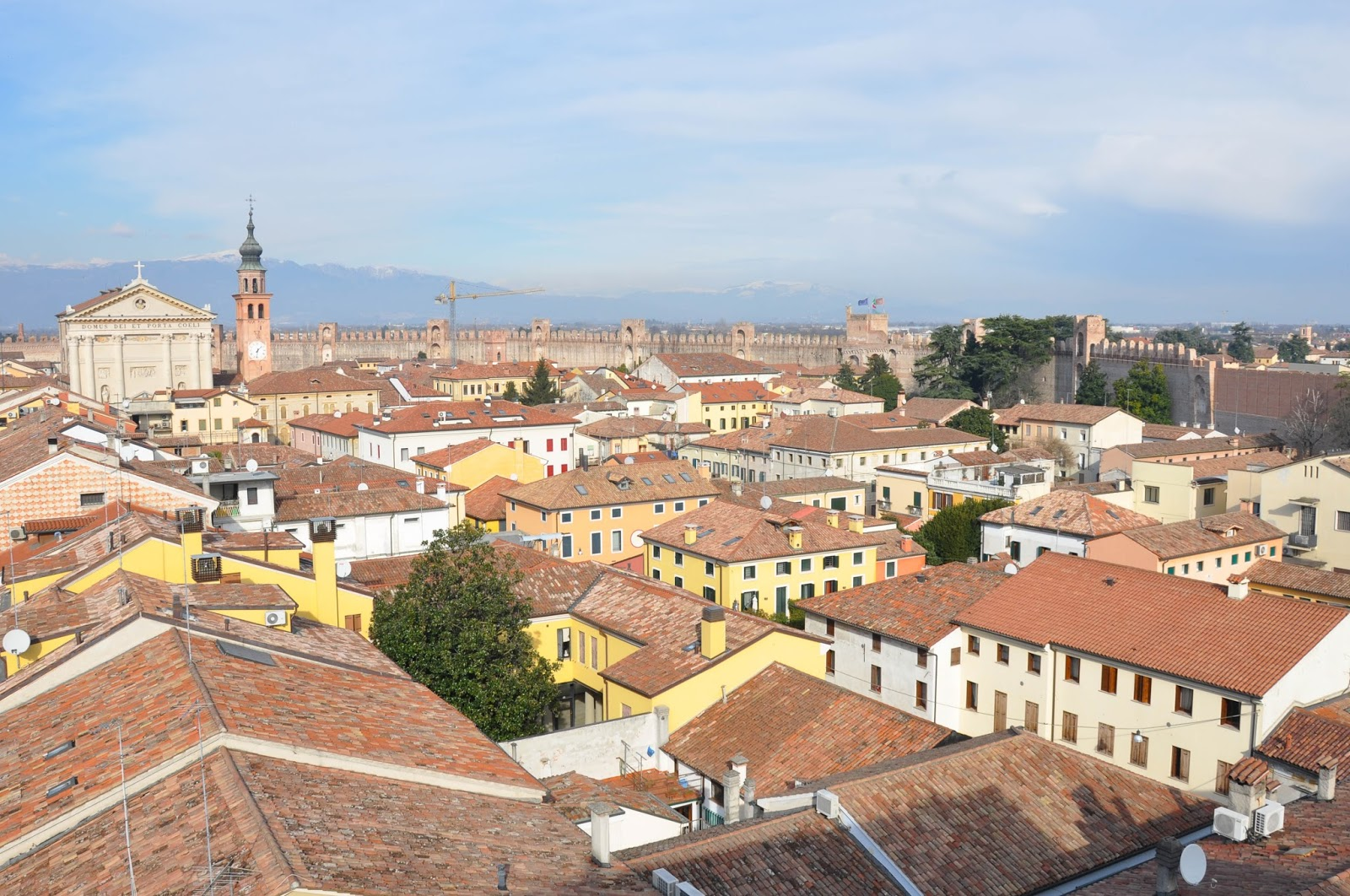 A panoramic view of the medieval town of Cittadella in Veneto, Italy and its wall