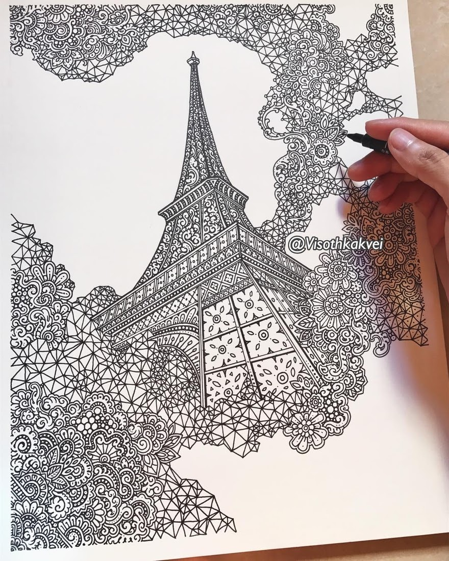 04-Paris-Eiffel-Tower-Visoth-Kakvei-Detailed-Drawings-with-many-Styles-www-designstack-co