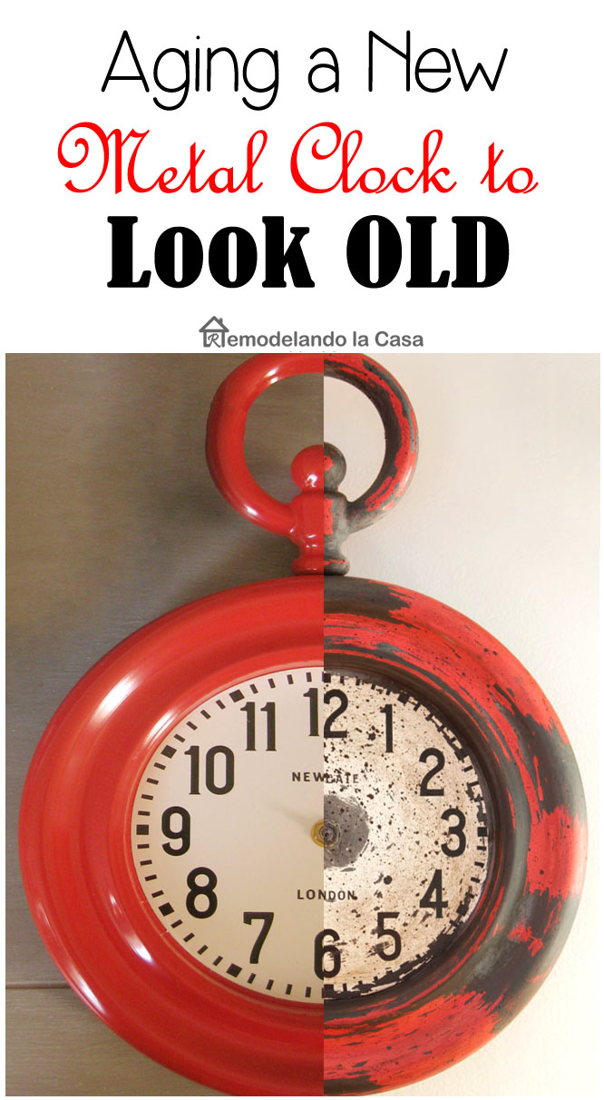 red clock before and after giving it a painted vintage look