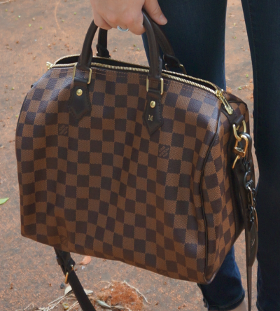 Away From Blue Blog Louis Vuitton Damier Ebene 30 speedy bandouliere