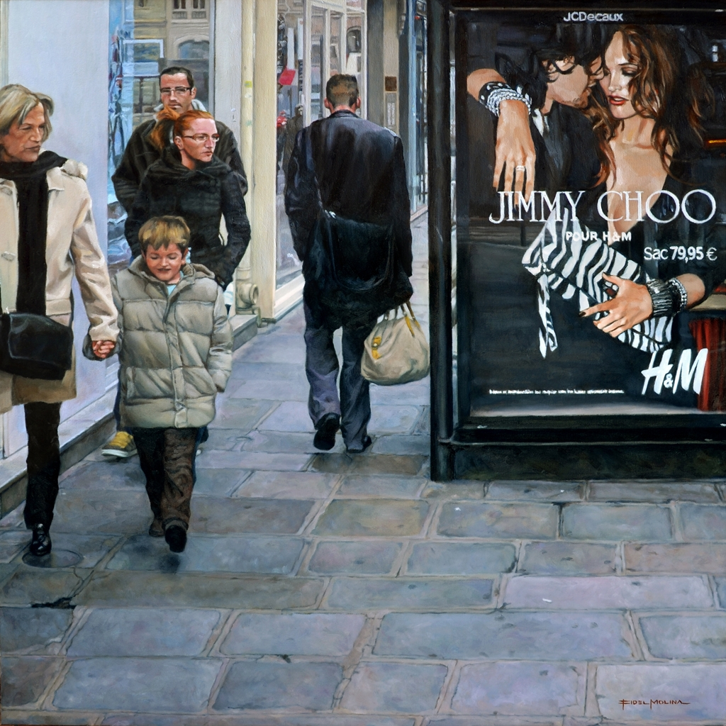 03-Por-una-calle-de-París-Fidel-Molina-Realistic-Paintings-of-Cities-Frozen-in-Time-www-designstack-co