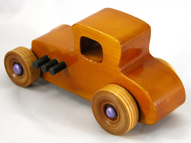 Top Left Rear -  Wooden Toy Car - Hot Rod Freaky Ford - 27 Coupe - Pine - Amber Shellac - Metallic Purple Hubs