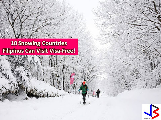 Many of us want to experience snow. But since the Philippines is a tropical country, we will never experience this, unless we go to another part of the world.  If you want to experience snow this coming December and celebrate your white Christmas abroad, here are 10 places you can visit visa-free. Just prepare your passport, and of course money.