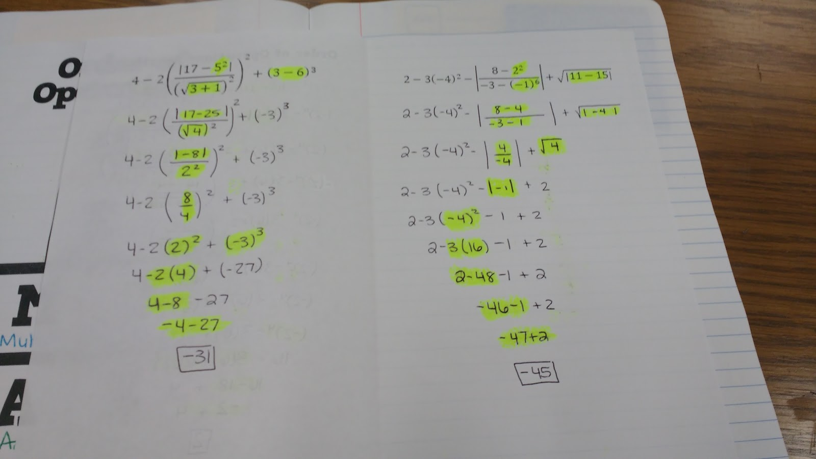 Math love order of operations interactive notebook pages next i gave my students a booklet foldable that had three order of operations practice problems these were definitely complex problems biocorpaavc Choice Image